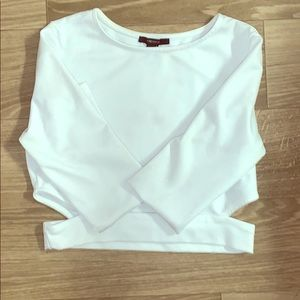 Long Sleeve White Cropped Tee.